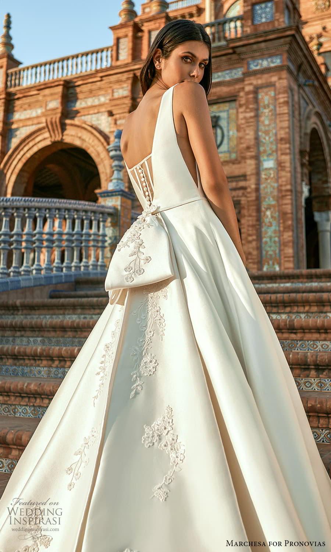 marchesa for pronovias 2022 bridal sleeveless straps v neckline clean minimalist a line ball gown wedding dress chapel train (20) zbv