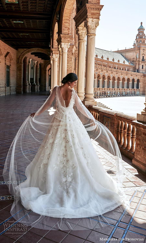 marchesa for pronovias 2022 bridal sleeveless straps v neckline embellished a line ball gown wedding dress chapel train (9) bv