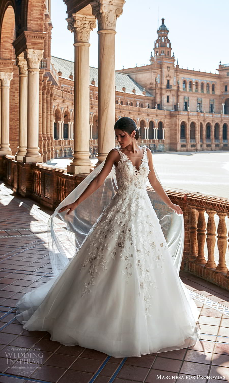 marchesa for pronovias 2022 bridal sleeveless straps v neckline embellished a line ball gown wedding dress chapel train (9) mv