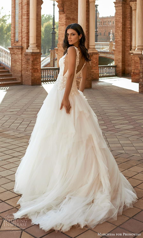 marchesa for pronovias 2022 bridal sleeveless straps v neckline embellished bodice drop waist a line wedding dress chapel train (5) bv