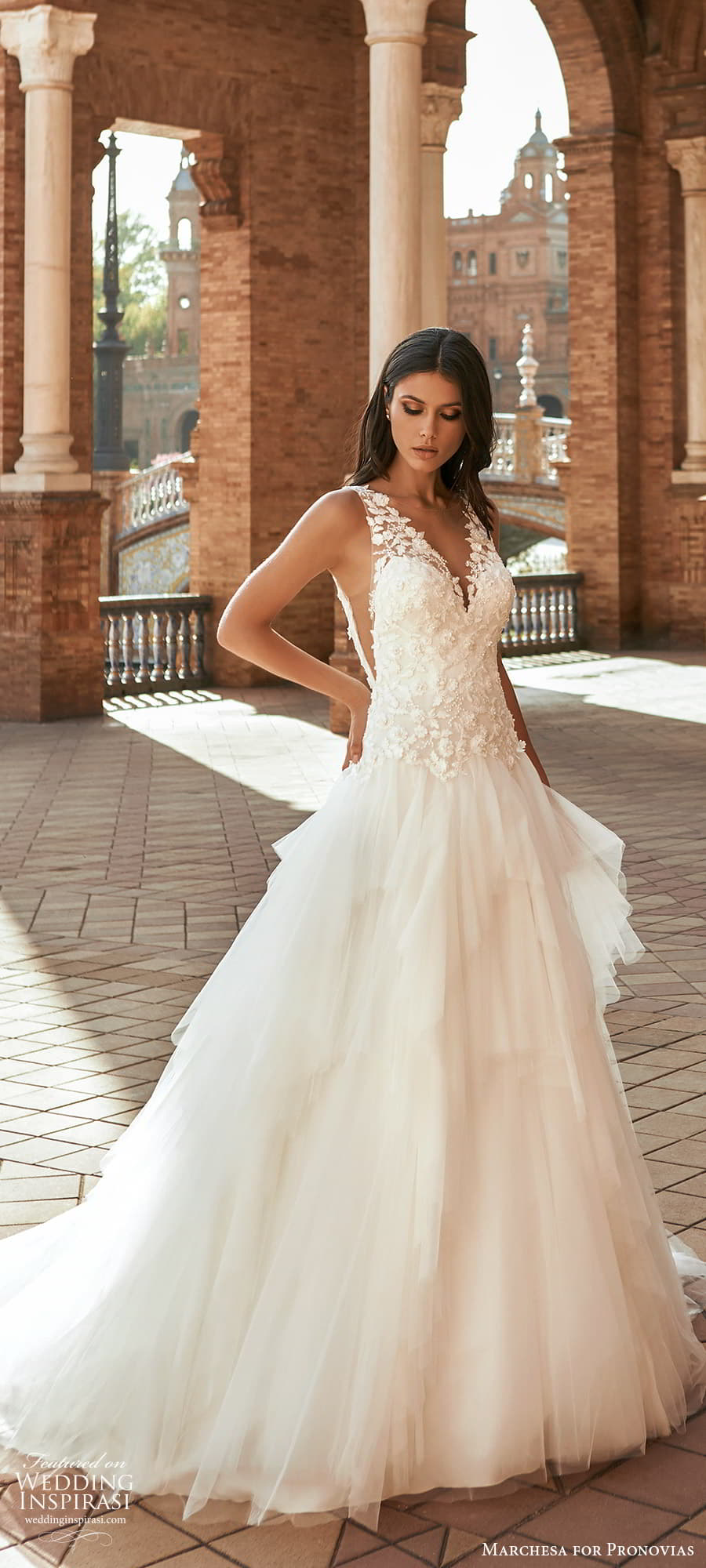 marchesa for pronovias 2022 bridal sleeveless straps v neckline embellished bodice drop waist a line wedding dress chapel train (5) mv