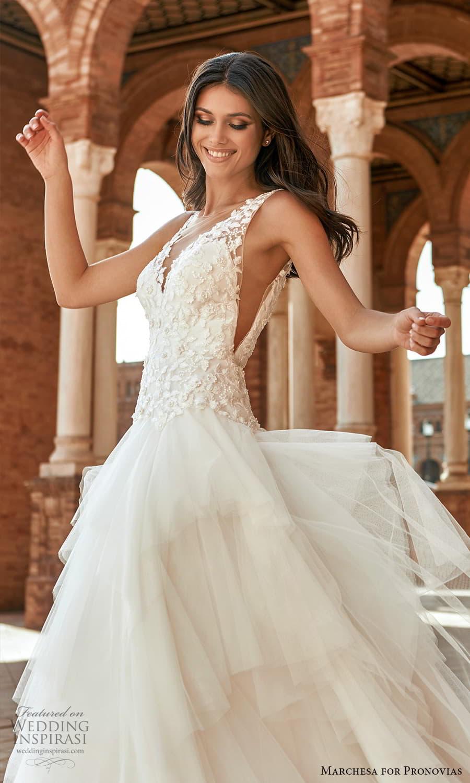 marchesa for pronovias 2022 bridal sleeveless straps v neckline embellished bodice drop waist a line wedding dress chapel train (5) zv