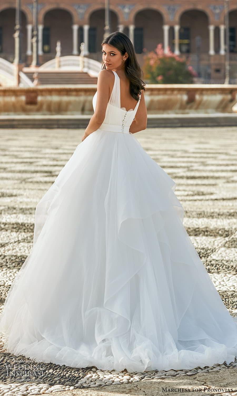 marchesa for pronovias 2022 bridal sleeveless straps v neckline ruched bodice a line ball gown wedding dress chapel train (21) bv