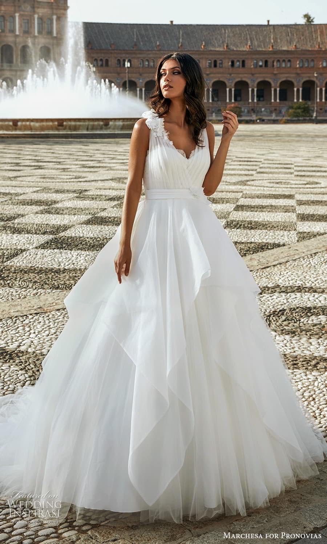 marchesa for pronovias 2022 bridal sleeveless straps v neckline ruched bodice a line ball gown wedding dress chapel train (21) mv