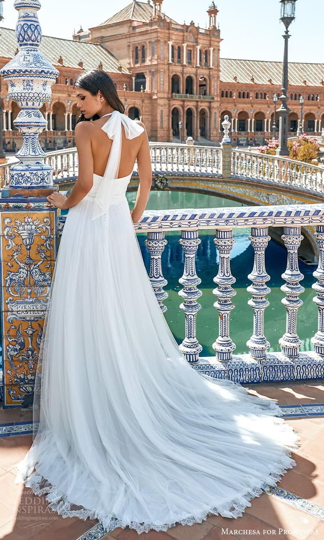 marchesa for pronovias 2022 bridal sleeveless tie straps halter neckline embellished a line wedding dress chapel train (10) bv