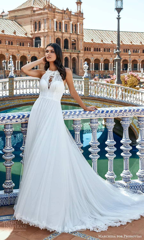 marchesa for pronovias 2022 bridal sleeveless tie straps halter neckline embellished a line wedding dress chapel train (10) mv