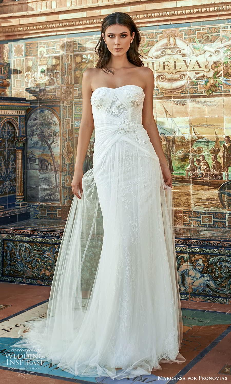 marchesa for pronovias 2022 bridal strapless semi sweetheart neckline sheath wedding dress sweep train (15) mv