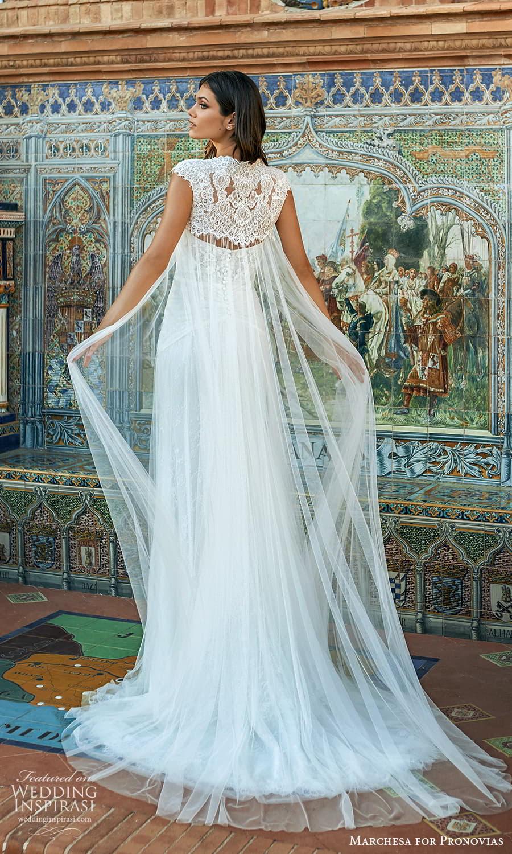 marchesa for pronovias 2022 bridal strapless semi sweetheart neckline sheath wedding dress sweep train cap sleeve cape (15) bv