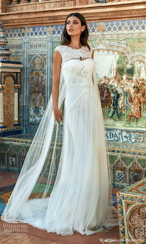 marchesa for pronovias 2022 bridal strapless semi sweetheart neckline sheath wedding dress sweep train cap sleeve cape (15) mv