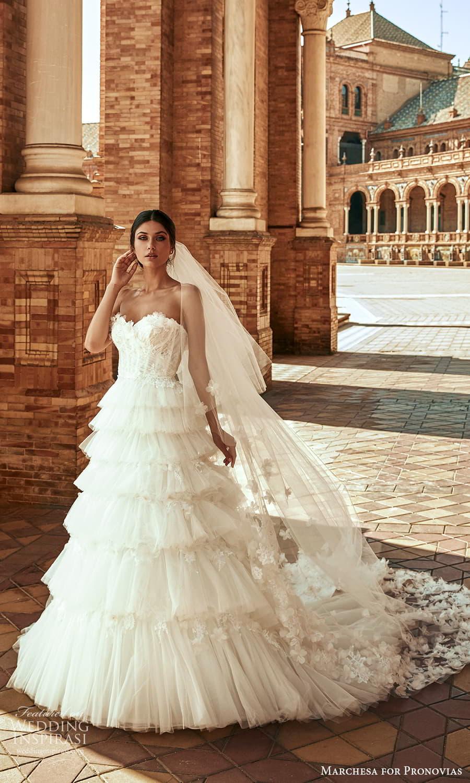 marchesa for pronovias 2022 bridal strapless sweetheart neckline embellished a line ball gown wedding dress chapel train (11) mv