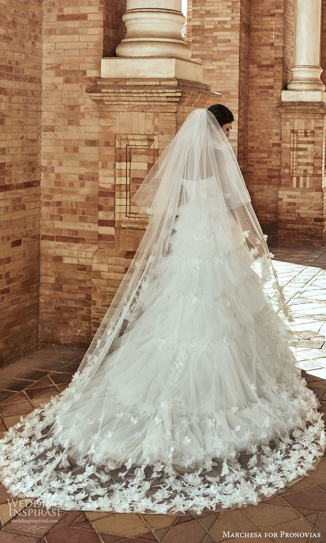 marchesa for pronovias 2022 bridal strapless sweetheart neckline embellished a line ball gown wedding dress chapel train veil (11) bv