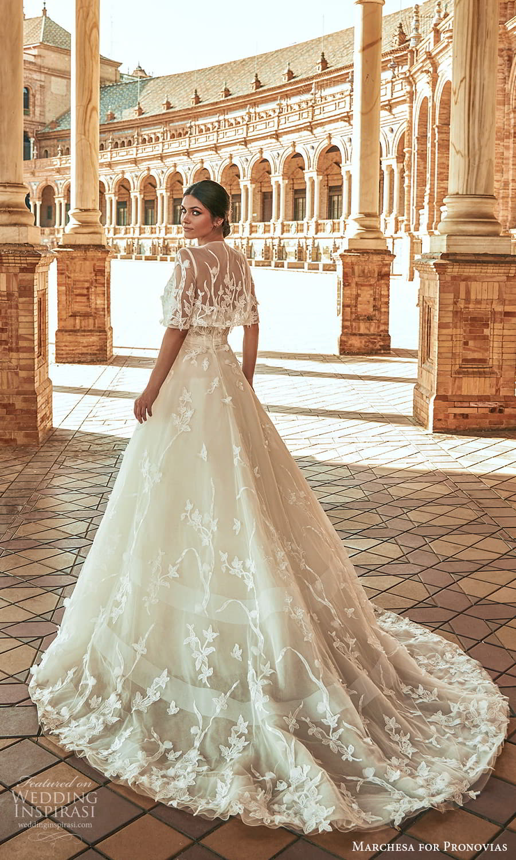 marchesa for pronovias 2022 bridal strapless sweetheart neckline embellished a line wedding dress chapel train elbow sleeve jacket (2) bv