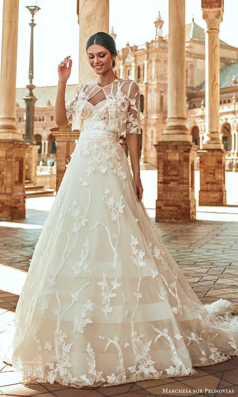 marchesa for pronovias 2022 bridal strapless sweetheart neckline embellished a line wedding dress chapel train elbow sleeve jacket (2) mv
