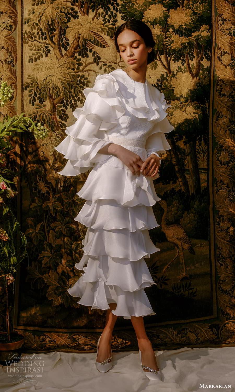 markarian spring 2022 bridal 3 quarter flare sleeeve jewel neckline embelished bodice short wedding dress (7) mv