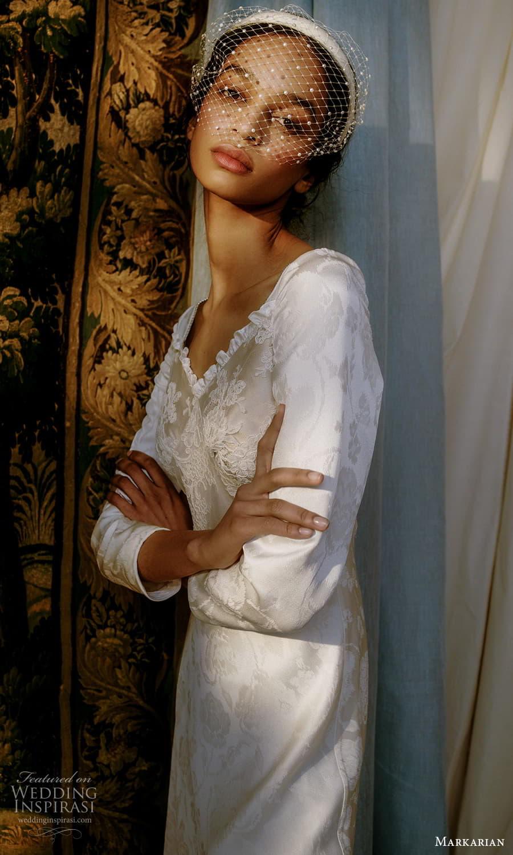 markarian spring 2022 bridal 3 quarter sleeve v neckline embellished short wedding dress (15) mv