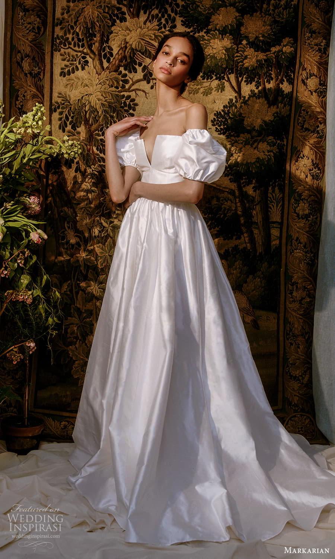 markarian spring 2022 bridal detached short puff sleeves straight across split neckline clean minimalist a line ball gown wedding dress chapel train (1) mv