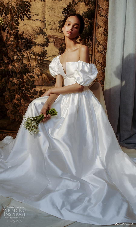 markarian spring 2022 bridal detached short puff sleeves straight across split neckline clean minimalist a line ball gown wedding dress chapel train (1) zv