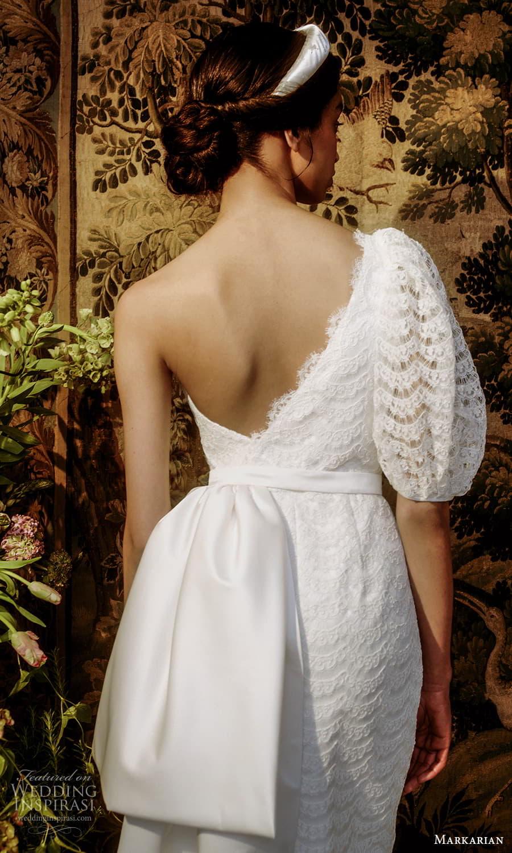 markarian spring 2022 bridal elbow length puff sleeve one shoulder lace short wedding dress (10) bv