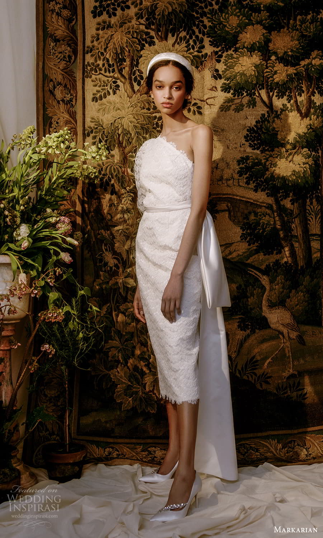 markarian spring 2022 bridal elbow length puff sleeve one shoulder lace short wedding dress (10) mv