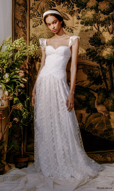 markarian spring 2022 bridal flutter sleeves sweetheart neckline embellished drop waist a line lace wedding dress (3) mmv
