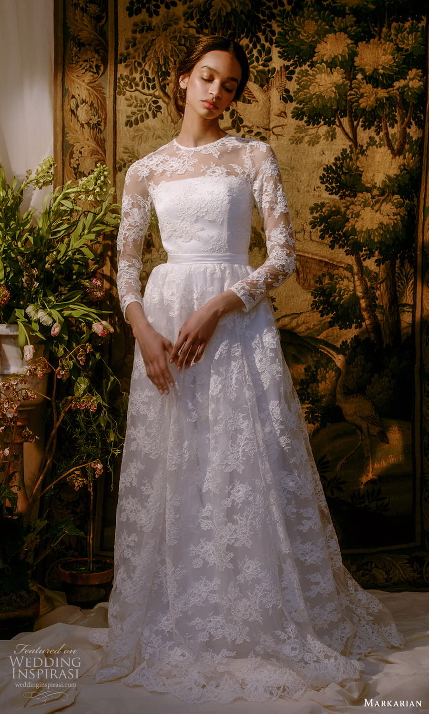 markarian spring 2022 bridal long sleeve jewel neckline fully embellished a line ball gown wedding dress chapel train (7) mv