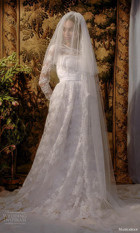 markarian spring 2022 bridal long sleeve jewel neckline fully embellished a line ball gown wedding dress chapel train veil (7) mv