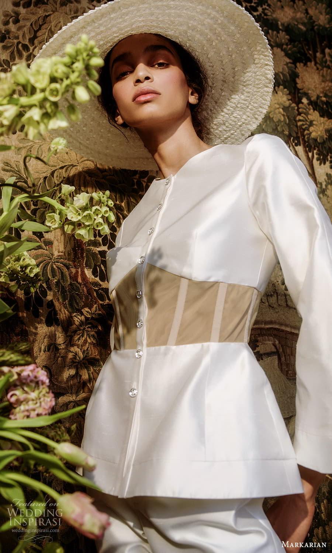 markarian spring 2022 bridal long sleeve jewel neckline jacket pant suit wedding dress (13) mv