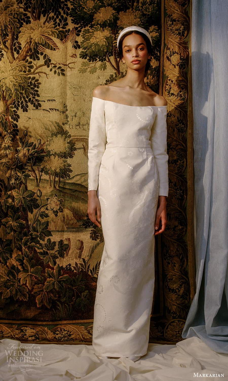 markarian spring 2022 bridal long sleeve off shoulder straight neckline sheath wedding dress chapel train (9) mv