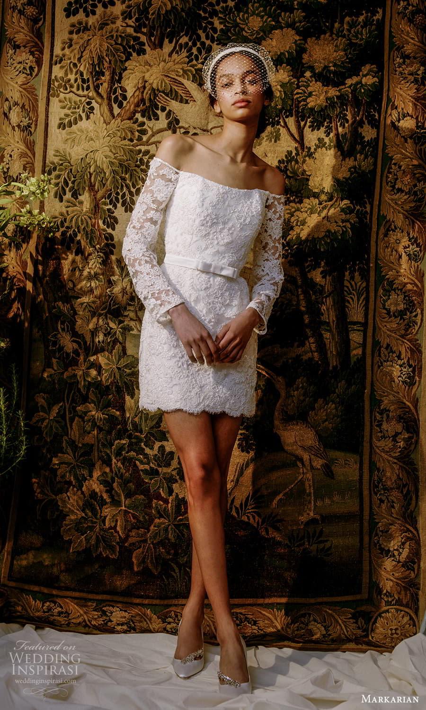 markarian spring 2022 bridal off shoulder long sleeve straight across neckline embellished short wedding dress (11) mv