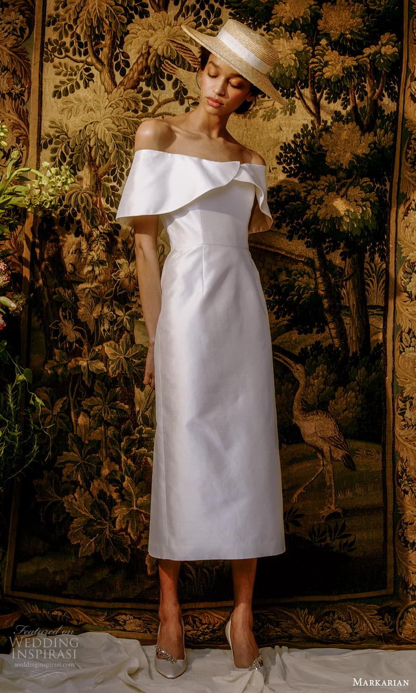 markarian spring 2022 bridal off shoulder short sleeves straight across neckline clean minimalist tea length wedding dress (9) fv