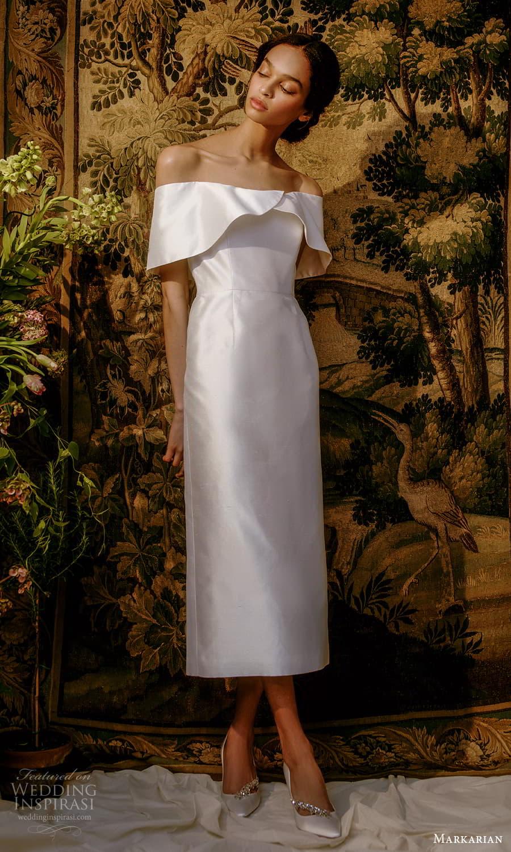 markarian spring 2022 bridal off shoulder short sleeves straight across neckline clean minimalist tea length wedding dress (9) mv
