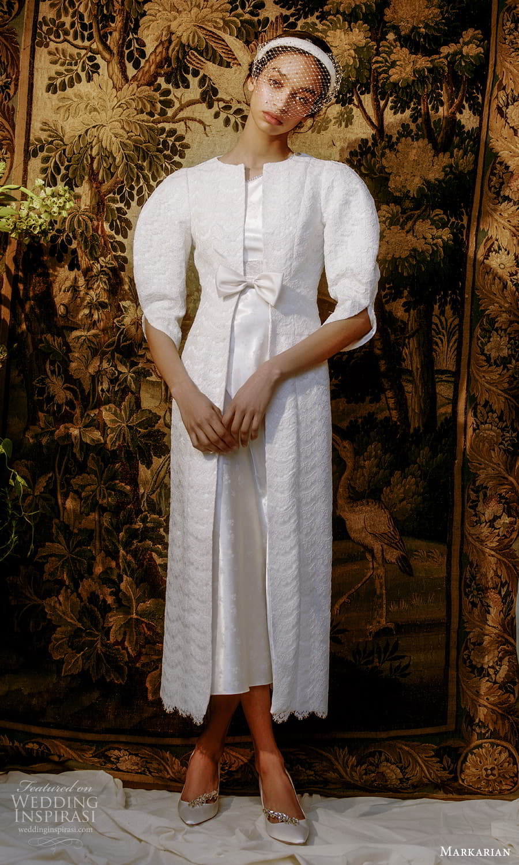 markarian spring 2022 bridal puff sleeve jacket tea length wedding dress (5) mv