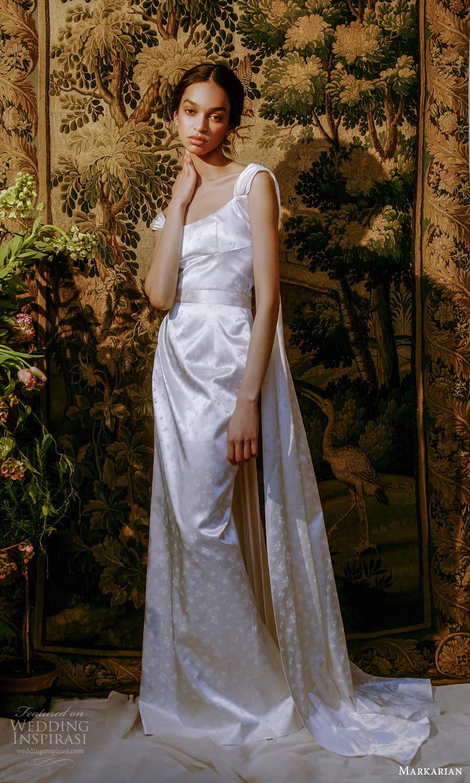 markarian spring 2022 bridal sleeveless straps square neckline clean sheath wedding dress chapel train (8) mv