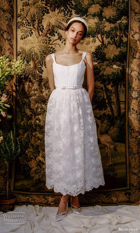 markarian spring 2022 bridal sleeveless straps square neckline embellished lace a line tea length wedding dress (4) fv