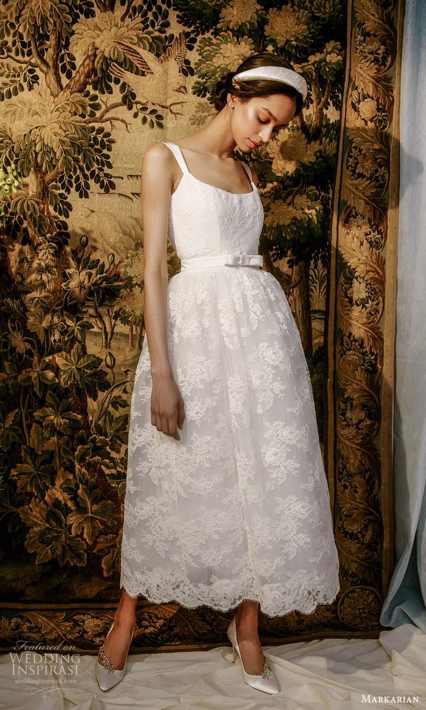 markarian spring 2022 bridal sleeveless straps square neckline embellished lace a line tea length wedding dress (4) mv