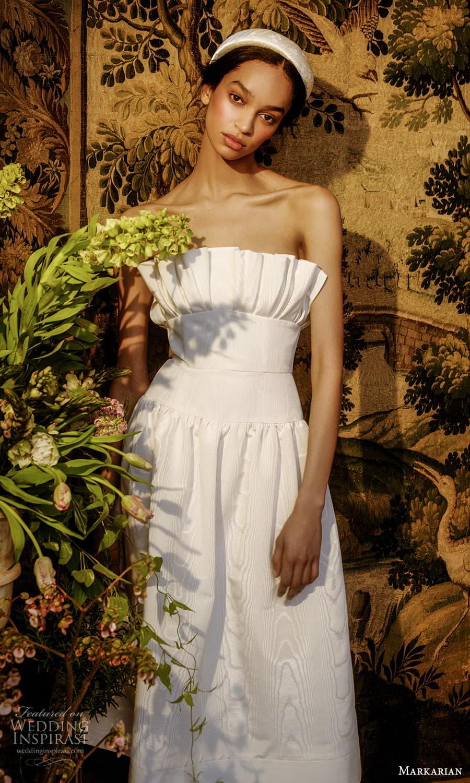 markarian spring 2022 bridal strapless crumbcatcher neckline clean minimalist tea length wedding dress (14) mv