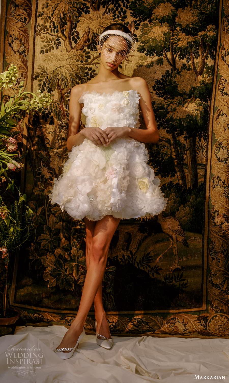 markarian spring 2022 bridal strapless straight across neckline embellished short wedding dress (8) mv