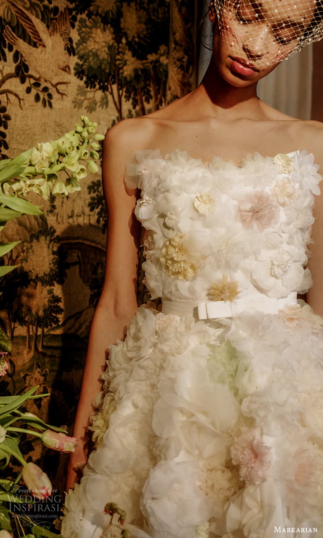 markarian spring 2022 bridal strapless straight across neckline embellished short wedding dress (8) zv