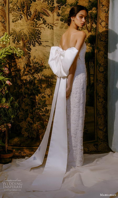 markarian spring 2022 bridal strapless straight neckline fully embellished sheath wedding dress chapel train (6) bv