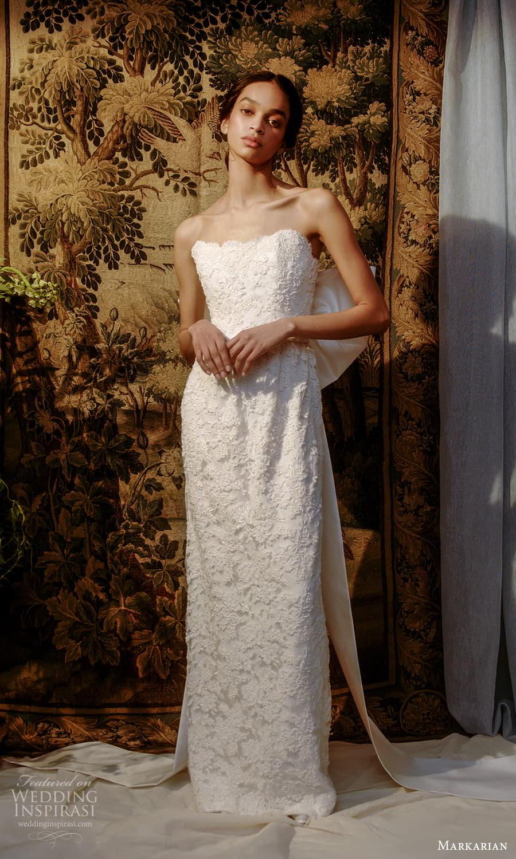 markarian spring 2022 bridal strapless straight neckline fully embellished sheath wedding dress chapel train (6) mv