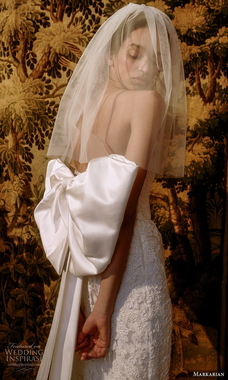 markarian spring 2022 bridal strapless straight neckline fully embellished sheath wedding dress chapel train (6) zbv
