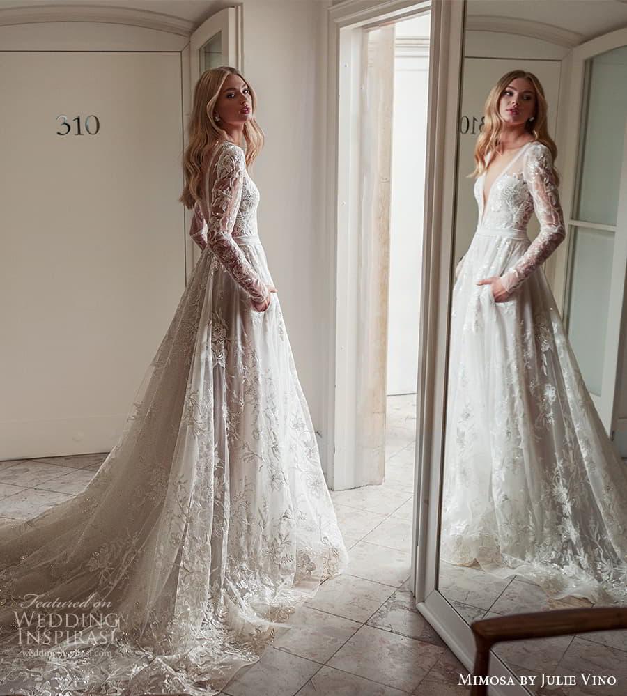 mimosa julie vino 2021 bridal long sleeve plunging v neckline fully embellished a line ball gown wedding dress (4) bv