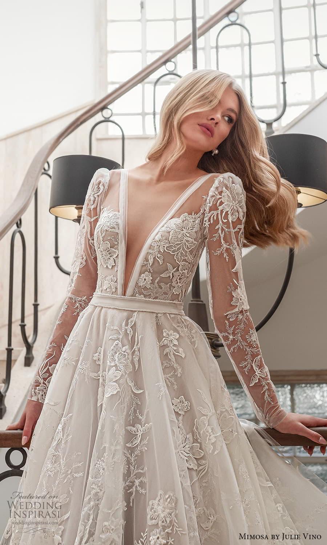 mimosa julie vino 2021 bridal long sleeve plunging v neckline fully embellished a line ball gown wedding dress (4) fv