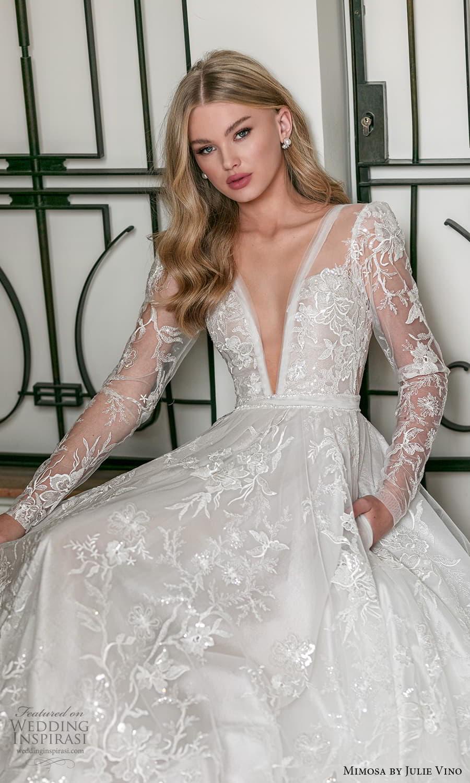 mimosa julie vino 2021 bridal long sleeve plunging v neckline fully embellished a line ball gown wedding dress (4) mv