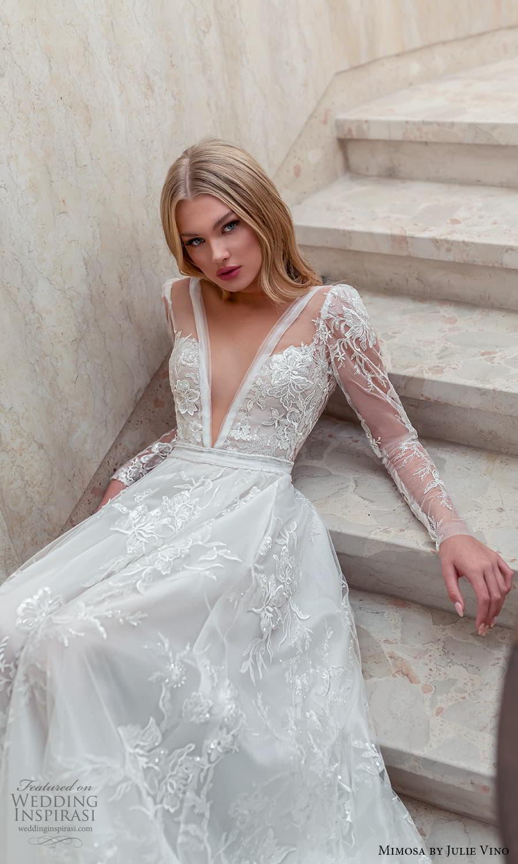 mimosa julie vino 2021 bridal long sleeve plunging v neckline fully embellished a line ball gown wedding dress (4) zv