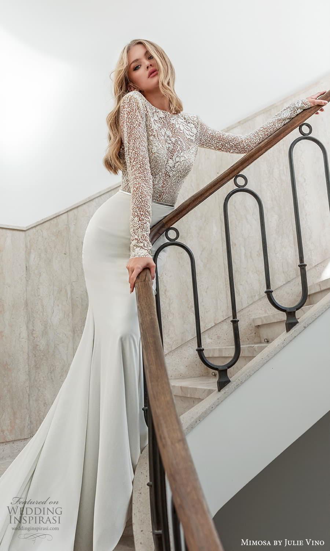 mimosa julie vino 2021 bridal long sleeves bateau neckline embellished bodice clean skirt sheath wedding dress chapel train (8) mv