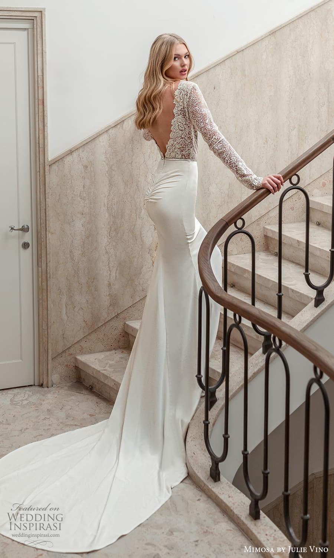 mimosa julie vino 2021 bridal long sleeves bateau neckline embellished bodice clean skirt sheath wedding dress chapel train v back (8) mv