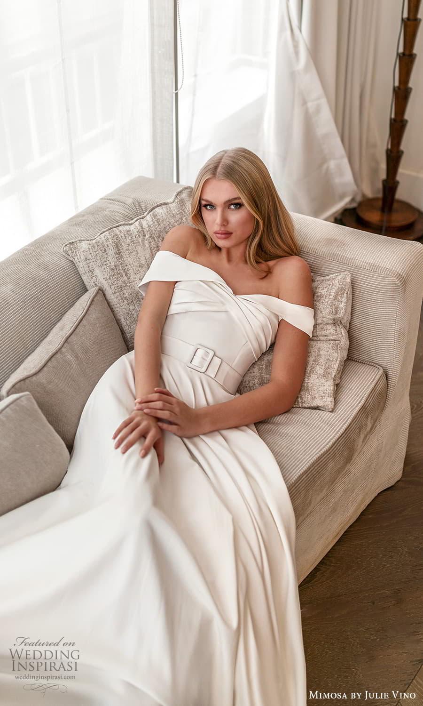 mimosa julie vino 2021 bridal off shoulder sleeves portrait neckline ruched bodice a line wedding dress (11) mv
