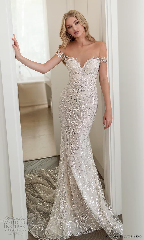 mimosa julie vino 2021 bridal off shoulder straps sweetheart neckline fully embellished sheath wedding dress chapel train (7) mv