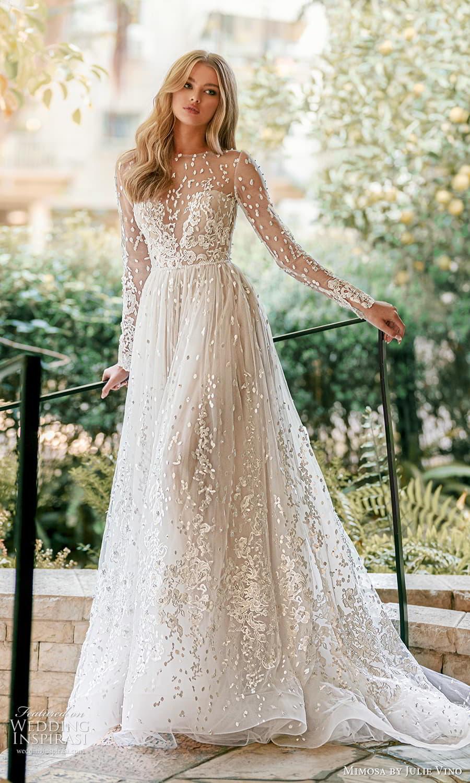 mimosa julie vino 2021 bridal sheer long sleeve jewel neckline embellished lace a line ball gown wedding dress chapel train (1) mv